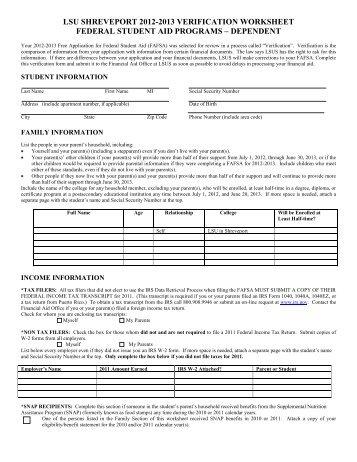 Collection Dependent Student Verification Worksheet Photos ...