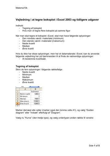 Vejledning i at tegne boksplot i Excel 2003 og tidligere ... - matema10k