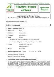synthèse essai variété blé 2012 - Chambre d'agriculture