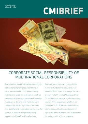 Corporate Social Responsibility of Multinational Corporations - CMI