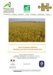 résultats essais blé et triticale récolte 2013 - Chambre d'agriculture