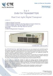 5 in 1 DVB-T/H TRANSMITTER Dual Cast Agile Digital Transposer