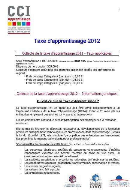 Collecte De La Taxe D Apprentissage 2010 Taux Cci