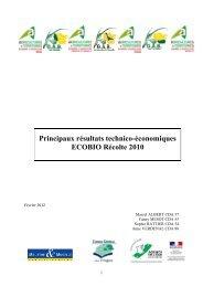Synthèse résultats ECOBIO - Chambre d'Agriculture