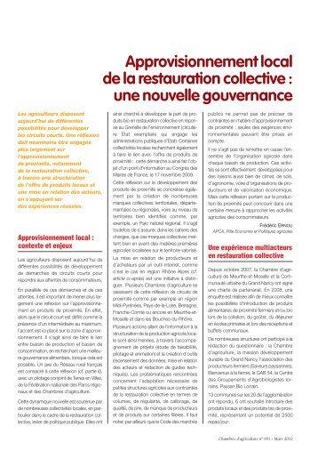 Restauration collective : l'approvisionnement en produits de proximité