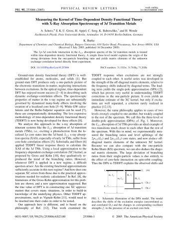 Measuring the Kernel of Time-Dependent Density Functional Theory ...