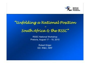 """Unfolding a National Position – South Africa & the RSSC"" - sasscal"
