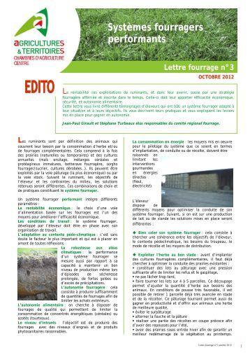 Lettre fourrages n 3 chambre d 39 agriculture d 39 eure et loir - Chambre d agriculture d indre et loire ...