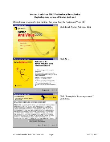 Norton Antivirus 2002 Professional Installation