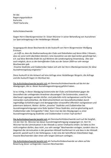 Dienstaufsichtsbeschwerde - Stadtpolitik Heidelberg