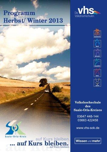 Programm Herbst - Volkshochschule des Saale-Orla-Kreises