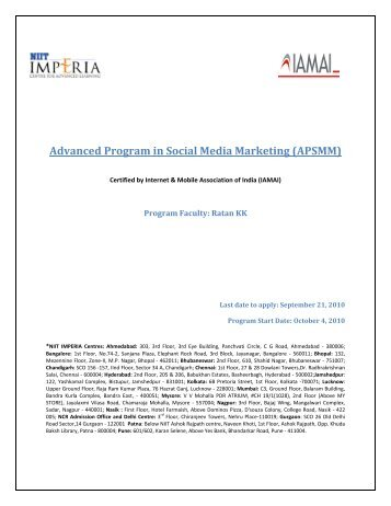 Advanced Program in Social Media Marketing ... - NIITImperia.com