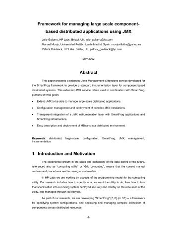 Framework for managing large scale component- based distributed ...