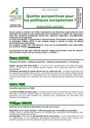 Quelles perspectives pour les politiques européennes - Chambre ...