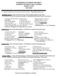 Supply List 2013-2014 - Marshfield School District