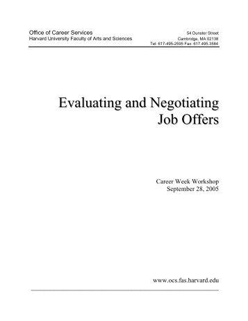 Evaluating Job Offers - Office of Career Services - Harvard University
