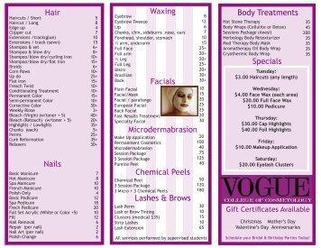 Specials Body Treatments Hair Waxing Facials Chemical Peels ...