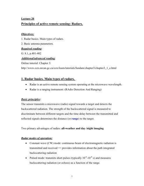 Principles of active remote sensing: Radars  1  Radar basics  Main