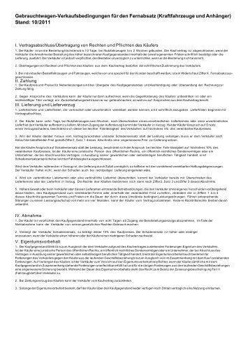 Gebrauchtwagen-Verkaufsbedingungen für den ... - Eurocar Landshut