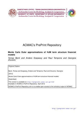 Download (536Kb) - ACMAC's PrePrint Repository