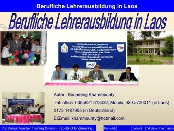 Berufliche Lehrerausbildung in Laos