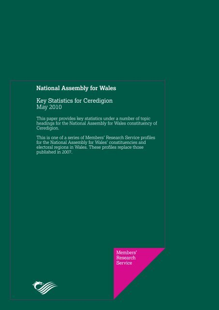 Key Statistics for Ceredigion - National Assembly for Wales
