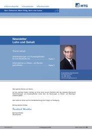 Newsletter Lohn und Gehalt - MTG