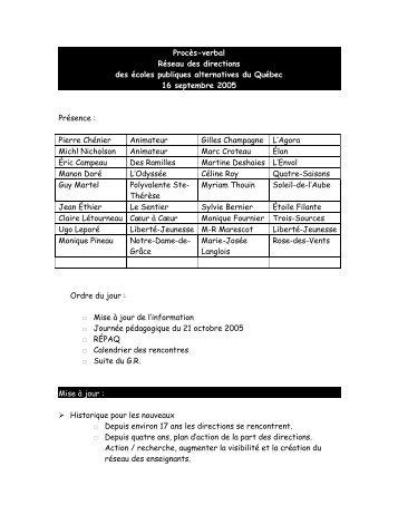 Réunion des directions du 16 septembre 2005 - répaq