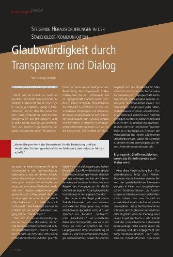 Glaubwürdigkeit durch Transparenz und Dialog - Zukunft durch ...