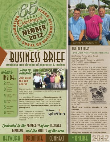 Inside: - Owatonna Chamber of Commerce and Tourism