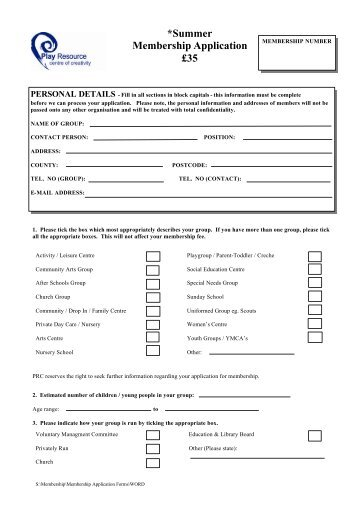 SUMMER application form 12 - Play Resource