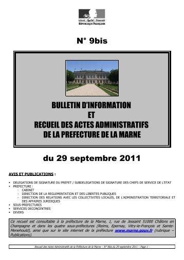 Recueil 9bis-2011 du 29 septembre - Préfecture de la Marne