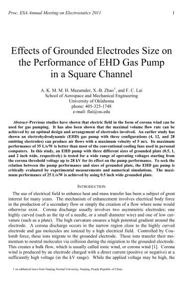 Effects of Grounded Electrodes Size on the Performance of EHD ...
