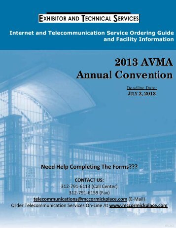 McCORMICK PLACE ® Exhibitor and Technical Services Order Form