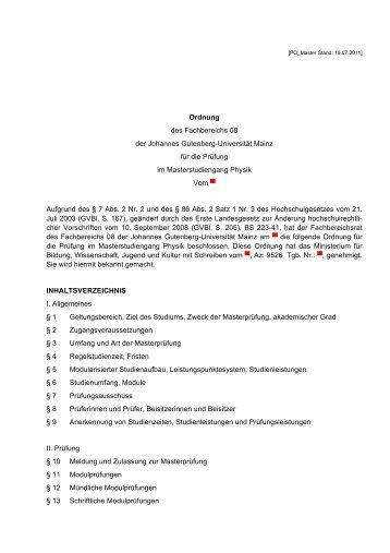 Master of Science: Physik - im Fachbereich Physik, Mathematik und ...