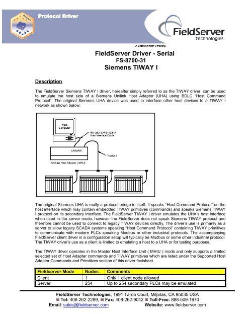 FieldServer Driver - Serial Siemens TIWAY I - Chipkin