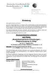 Deutsche Gesellschaft für Muskelkranke e. V. DGM Einladung