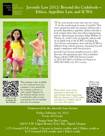 Juvenile Law 2012: Beyond the Codebook - Oregon State Bar CLE ...