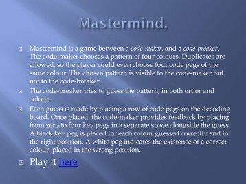 Mastermind worksheet