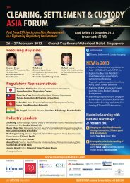 CLEARING, SETTLEMENT & CUSTODY ASIA FORUM CLEARING ...