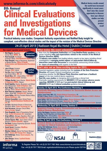 8th Annual Clinical Evaluations and Investigations for Medical Devices