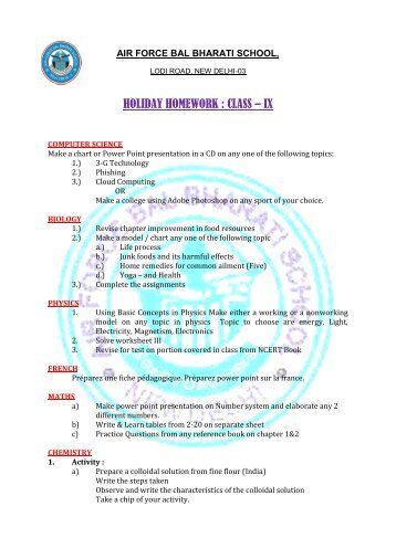 HOLIDAY HOMEWORK : CLASS – IX - Air Force Bal Bharati School