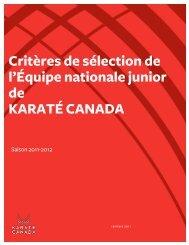 Critères de sélection de l'Équipe nationale junior ... - Karate Canada