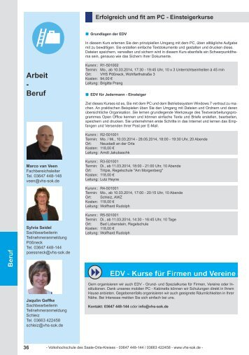 Beruf - Volkshochschule des Saale-Orla-Kreises