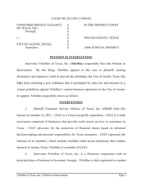 CSAT V Austin Titlemax Petition To