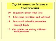 Top 10 reasons to become a Food Scientist - Department of Food ...