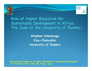 Role of Higher Education for Sustainable Development in ... - UNU-ISP