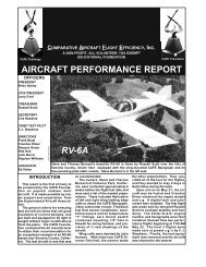 AIRCRAFT PERFORMANCE REPORT RV-6A - CAFE Foundation