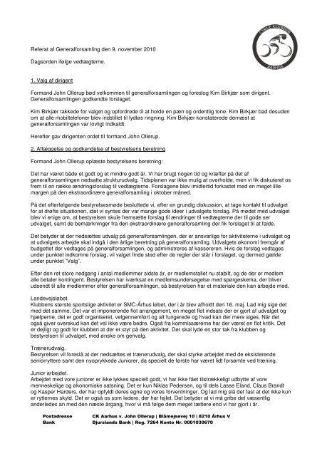 Referat af Generalforsamling den 9. november 2010 ... - CK Aarhus