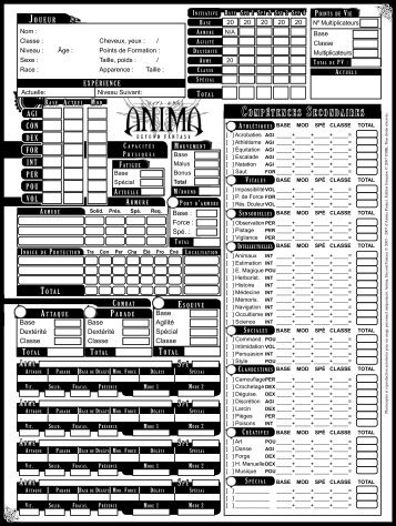 ANIMA RPG French Character sheet - Projet Anima